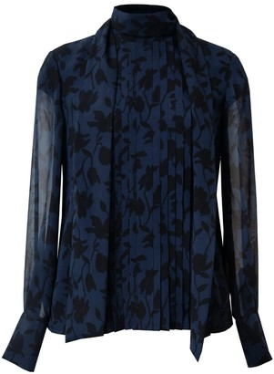 Diana Arno Lelia Silk Scarf Blouse In Blue Florals
