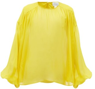 Giambattista Valli Gathered Silk-chiffon Blouse - Yellow