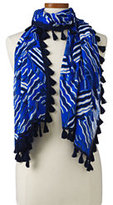 Lands' End Women's Sapphire Wave Tassel Fringe Scarf-Sea Cliff Blue