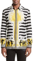 Versace Men's Stripe Print Silk Shirt