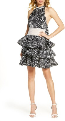 Bronx and Banco Aubrey Polka Dot Halter Neck Party Dress