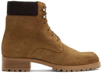 Christian Louboutin Brown Suede Trapman 20 Crosta Wax Boots