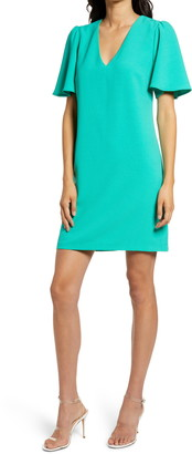 Charles Henry Dual V-Neck Crepe Dress