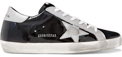 Golden Goose Superstar Distressed Metallic And Patent-leather Sneakers - Black