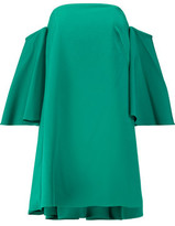 Milly Mila Off-The-Shoulder Ruffled Stretch-Cady Mini Dress