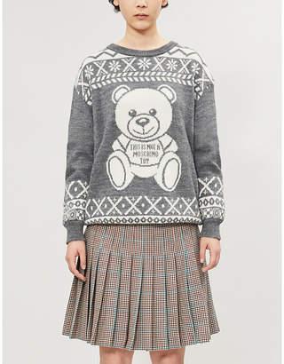 Moschino Bear-intarsia knitted jumper