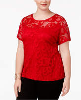 INC International Concepts Plus Size Lace Overlay Top, Created for Macy's
