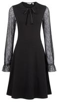 Dorothy Perkins Womens Tall Black Lace Sleeve Dress, Black