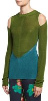Etro Bicolor Cold-Shoulder Sweater, Blue/Green