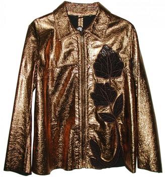 Blumarine Gold Leather Jacket for Women