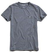 Todd Snyder Striped Button Pocket Tee in Naval Blue