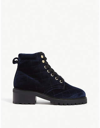 Sandro Aron quilted velvet hiker boots