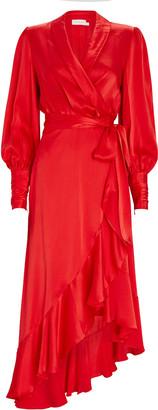 Zimmermann Silk High-Low Wrap Dress