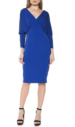 Alexia Admor Christine Draped Dolman Sleeve Sheath Dress