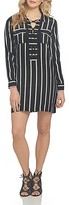 1 STATE 1.state Long Sleeve Lace-Up Shift Dress