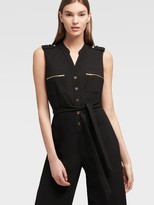DKNY Sleeveless Button-up Jumpsuit