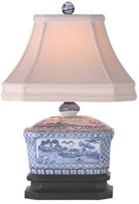 East Enterprises Inc Countryside Porcelain Table Lamp, Blue and White