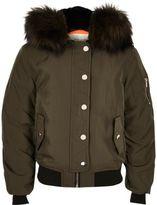 River Island Girls khaki hooded bomber jacket