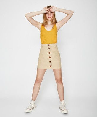 MinkPink Neutral Buttoned Mini Skirt Beige
