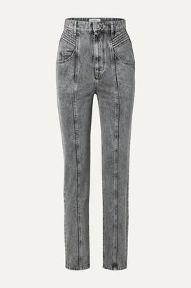 Etoile Isabel Marant Henoya Acid-wash High-rise Slim-leg Jeans - Gray