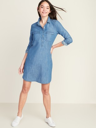 Old Navy Chambray Utility Shirt Dress for Women