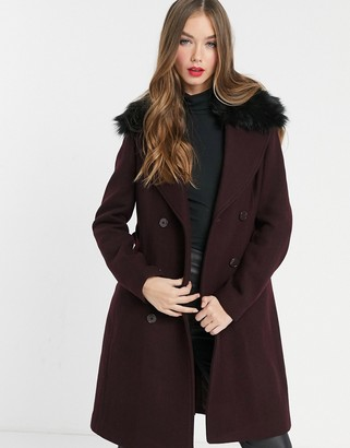Morgan double breasted coat with faux fir collar detail in burgundy