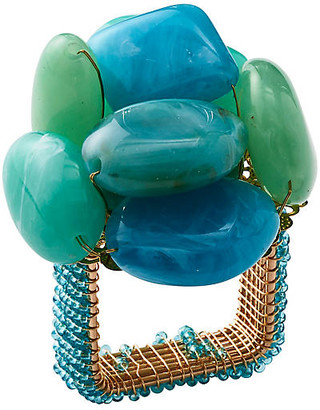 Kim Seybert Set of 4 Sea Stone Napkin Rings - Seafoam