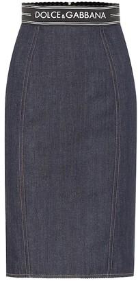 Dolce & Gabbana High-rise denim pencil skirt