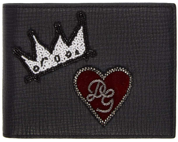 Dolce & Gabbana Black Crown and Heart Wallet