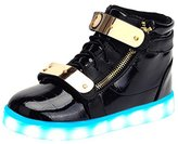 SAGUARO Kids Boys Girls 7 Colors LED Light Up Shoes USB Charging High Top Flashing PU Sneakers