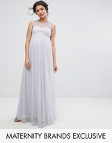 Little Mistress Maternity Maxi Dress With Pearl Embellished Bodice