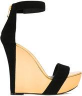 Balmain metallic wedge sandals - women - Leather/Suede - 38