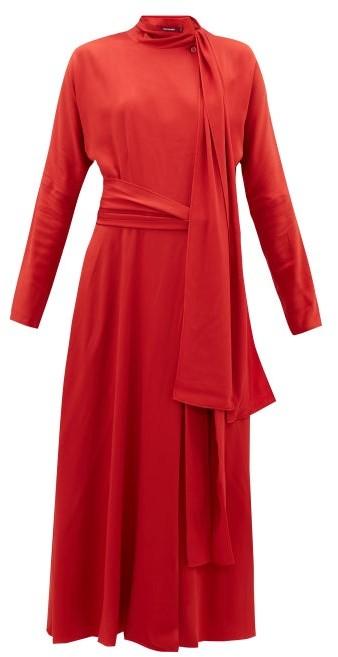 Sies Marjan Bea Tie-neck Silk-crepe Dress - Red