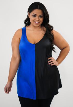 Marée Pour Toi Maree Pour Toi Navy/black Color Blocked Silk Tank Top in Navy Blue/Black Size 14