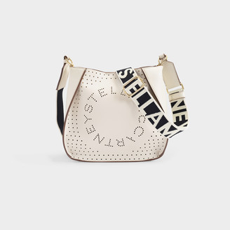 Stella McCartney Stella Logo Mini Crossbody Bag In White Eco Soft Alter Nappa