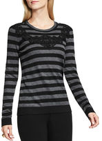 Vince Camuto Petite Long Sleeve Lace Applique Striped Pullover