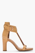 Veronique Branquinho Beige leather and rose gold t-strap heels