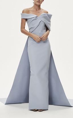 Rachel Gilbert Matteo Crepe De Chine Caped Gown