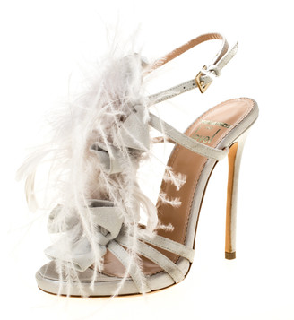 DSQUARED2 Grey Suede and Ostrich Feather Ankle Strap Sandals Size 36
