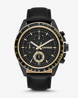 Express black leather strap multi-function watch