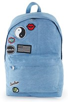 Topman Men's Denim Backpack With Patches - Blue