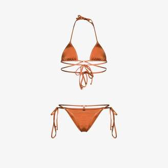 Reina Olga Womens Orange R Olga Goldie Bkni Set Trngle Tie Brick