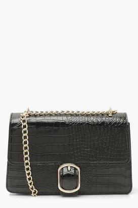 boohoo Croc Pu Chunky Chain Crossbody Bag