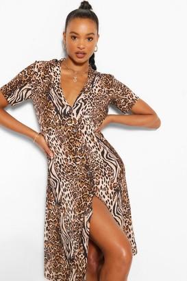 boohoo Tiger & Leopard Mix Shirt Style Midi Dress