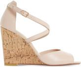 Dune Kasino peep-toe leather wedges