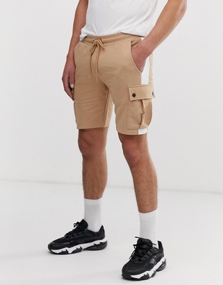 BEIGE Asos Design ASOS DESIGN skinny shorts with cargo pockets and side stripes in