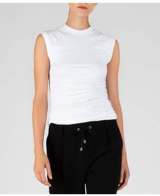ATM Anthony Thomas Melillo Pima Cotton Ruched Sleeveless Top - White
