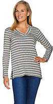 Susan Graver Weekend Striped Cotton Modal V-Neck Top