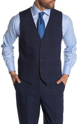 Moss Bros Dark Blue Plaid Tailored Fit Suit Separates Vest