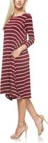 Burgundy Stripe Pocket Midi Dress